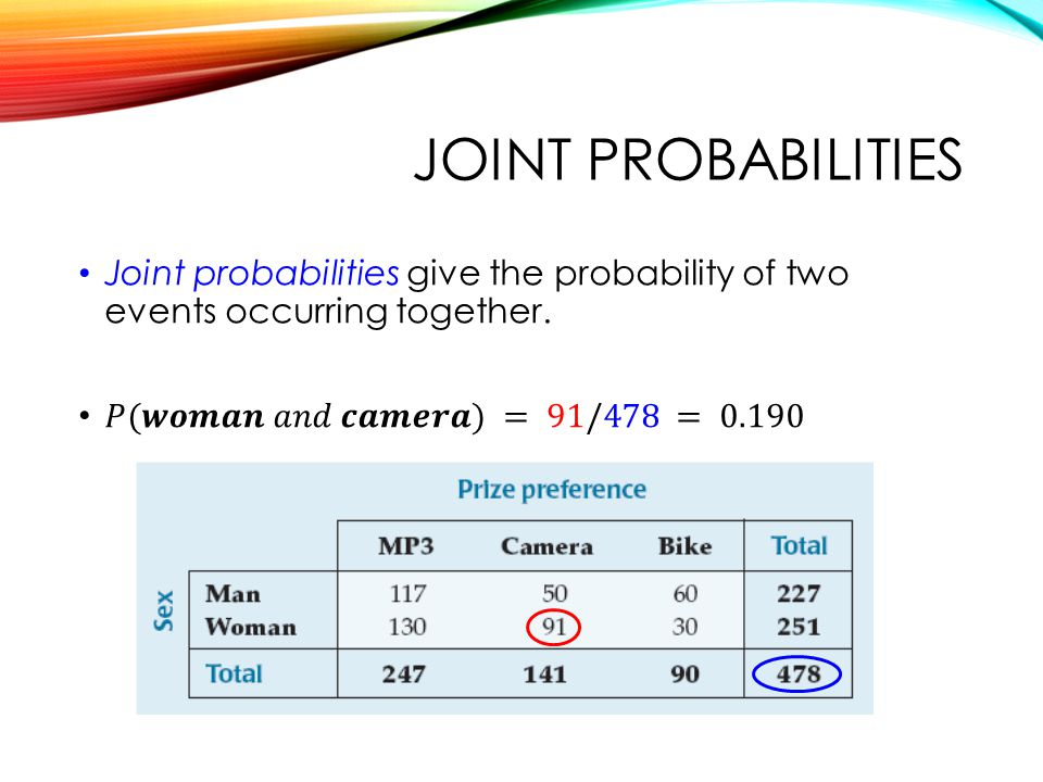 QTM1310/ Sharpe Joint probabilities. Joint probabilities give the probability of two events occurring together.
