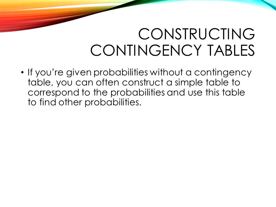 Constructing contingency tables