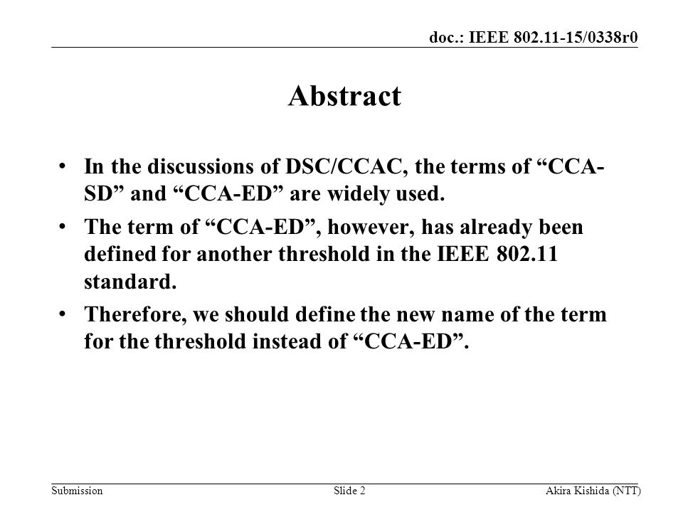 Month Year Doc Title. Abstract. In the discussions of DSC/CCAC, the terms of CCA- SD and CCA-ED are widely used.