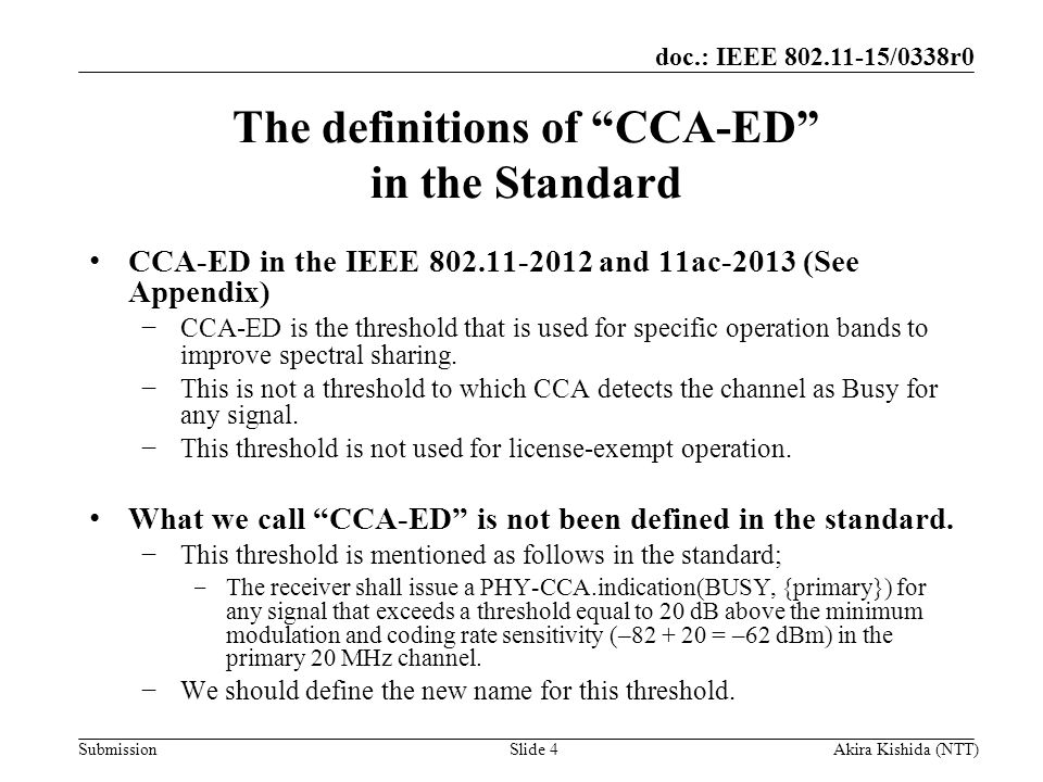 The definitions of CCA-ED in the Standard