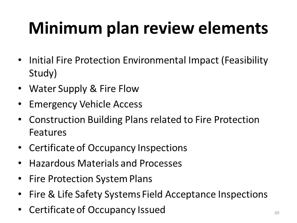fire protection review plan