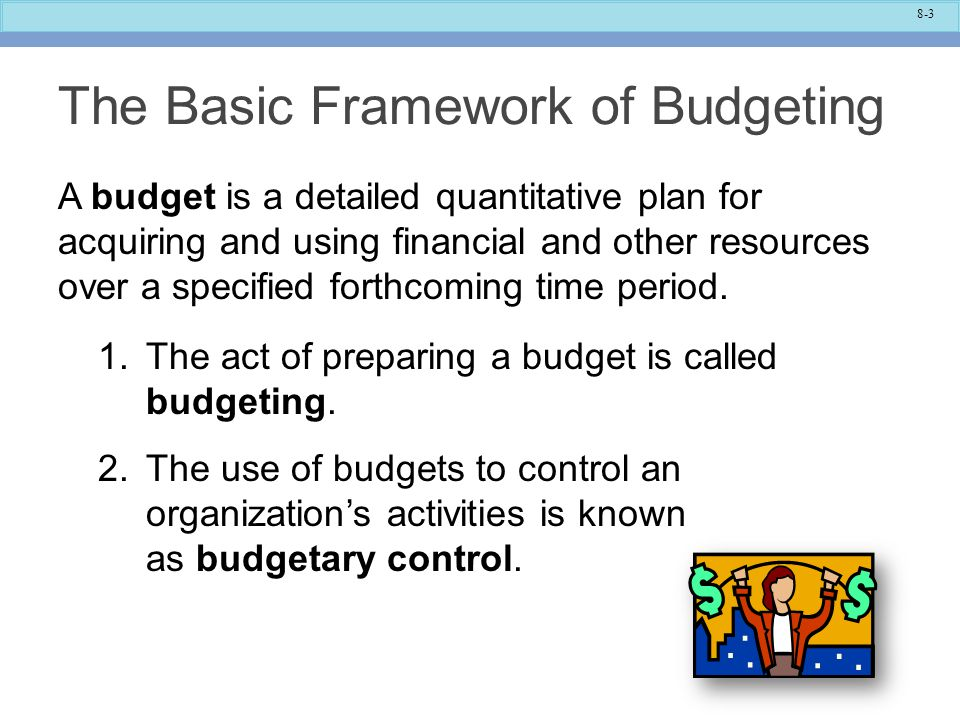 using budgets for control This wasteful way of using budgets overlooks budget choice: planning versus control companies tend to use budgets mostly for control and smaller.