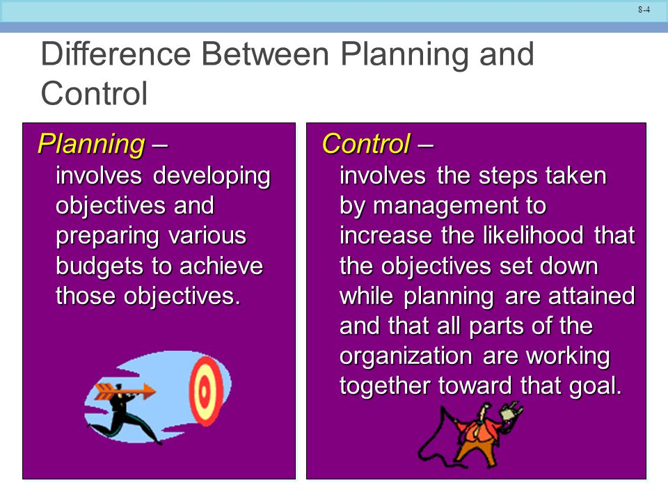 how are planning and control different Briefly, here are some ways in which the strategic planning process differs from the management control process a strategic plan usually relates to some part of the organization lather than to the totality the concept of a master planner who constantly helps all part of the organization at.