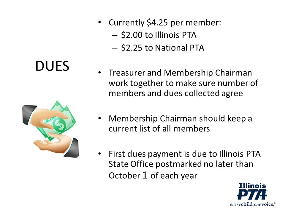 DUES Currently $4.25 per member: $2.00 to Illinois PTA