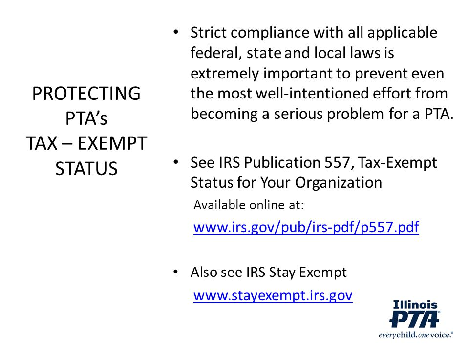 PROTECTING PTA's TAX – EXEMPT STATUS