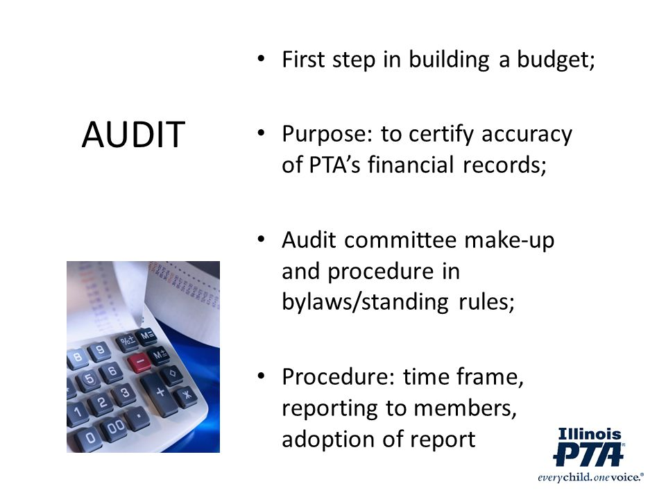 AUDIT First step in building a budget;
