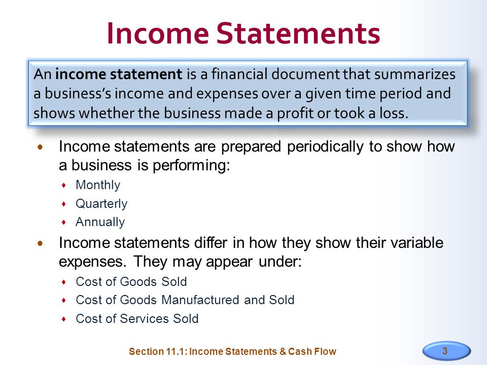 Financial Statements Section  Income Statements  Cash Flow