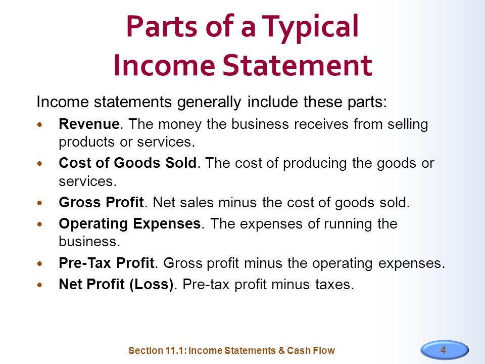 11 FINANCIAL STATEMENTS Section 111 Income Statements Cash Flow – Income Statements