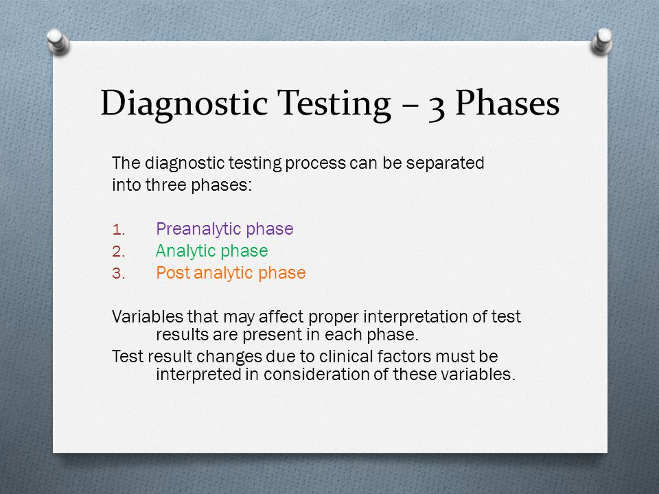 Diagnostic Testing – 3 Phases