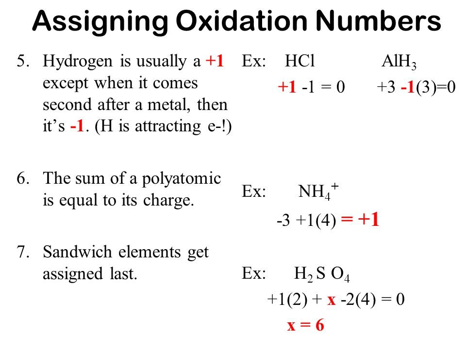 assigning oxidation numbers You must break the compound into the individual ions that are present and then use rule 9 to find the oxidation numbers of n and s notice that if you try to use rule 8, you end up with one equation with two unknowns: 2n + 8(+1) + 1s + 4(-2) = 0.