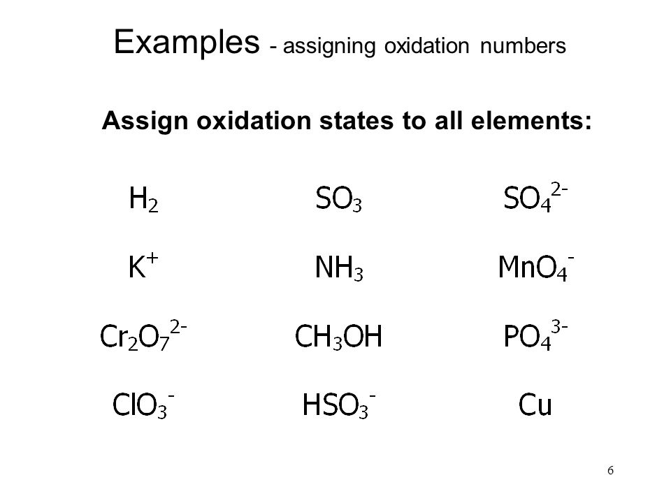 assign oxidation numbers You must break the compound into the individual ions that are present and then use rule 9 to find the oxidation numbers of n and s notice that if you try to use rule 8, you end up with one equation with two unknowns: 2n + 8(+1) + 1s + 4(-2) = 0.