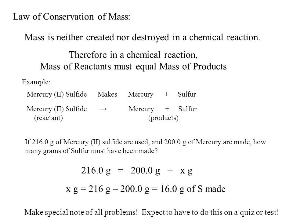 Law of Conservation of Mass: - ppt video online download