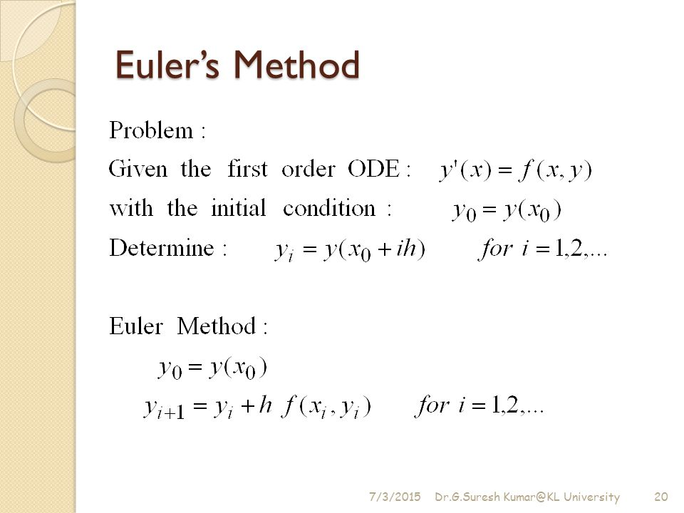 Euler's Method 4/17/2017 Dr.G.Suresh University