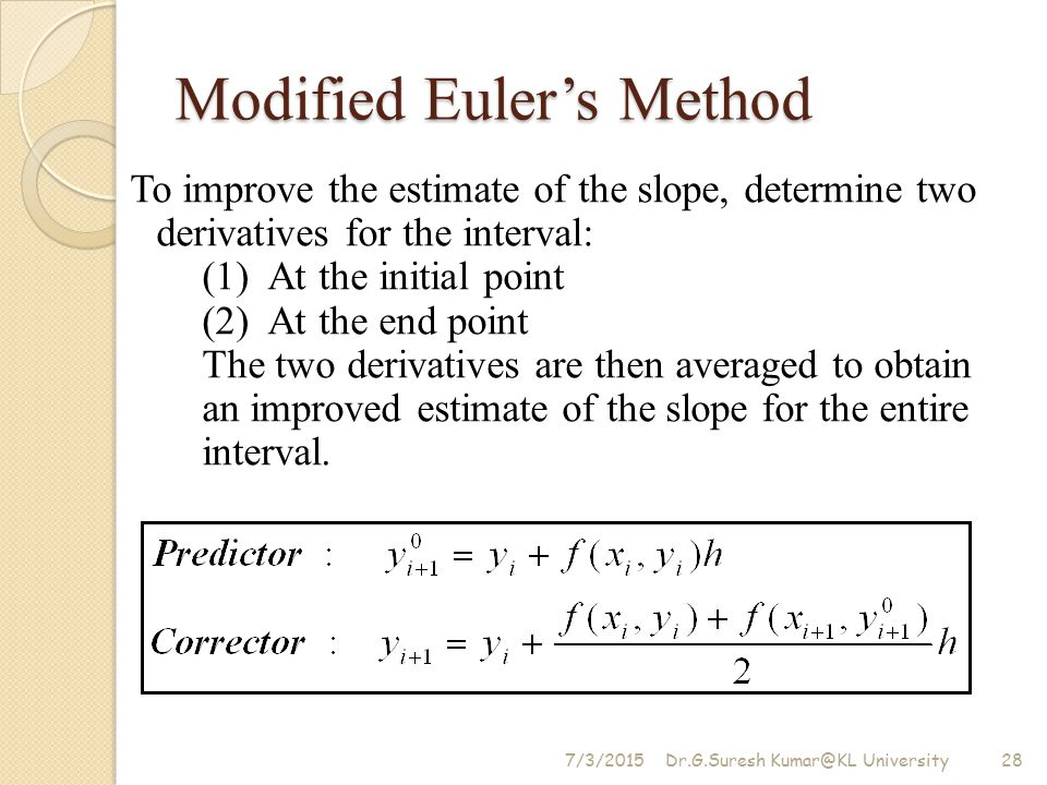Modified Euler's Method