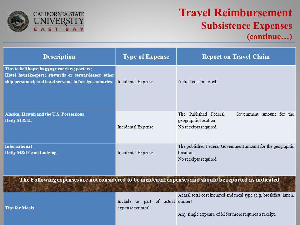 Csu East Bay Travel Reimbursement Training Effective January 1 Ppt Download