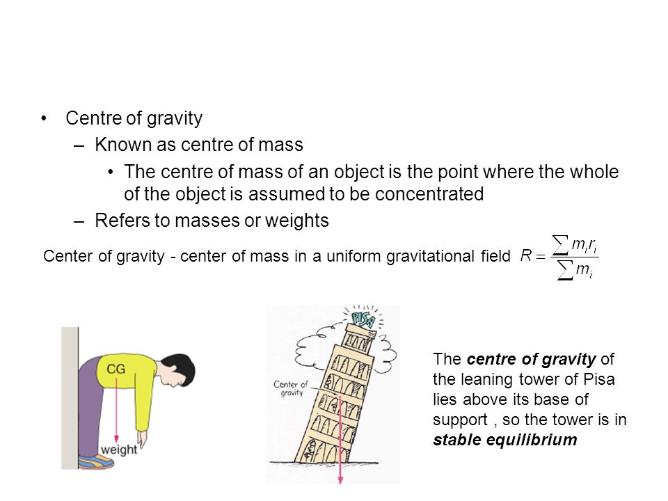 how to find the center of gravity of an object