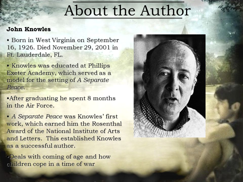 a separate peace - loss of innocence essay Finny's Loss of Innocence in the Novel, A Separate Peace by John Knowles