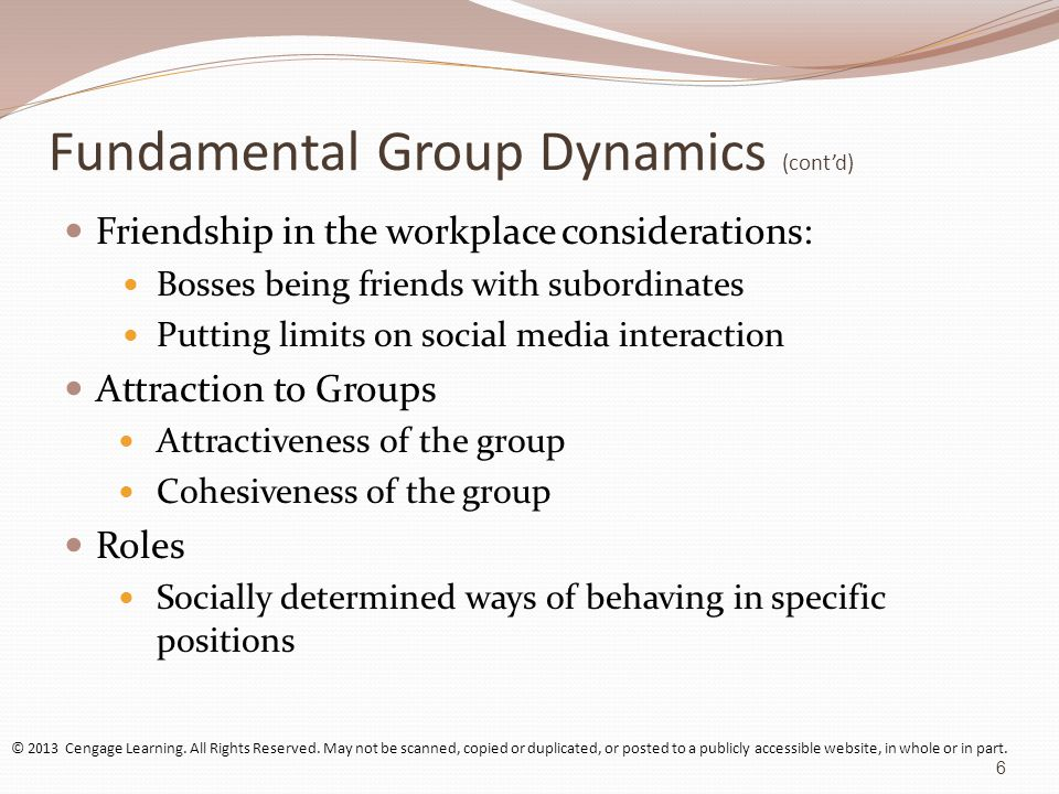 group dynamics and yheir specified roles Group dynamics group them in different ways consistent with their roles have more authority to make decisions for their group while serving as facilitator.