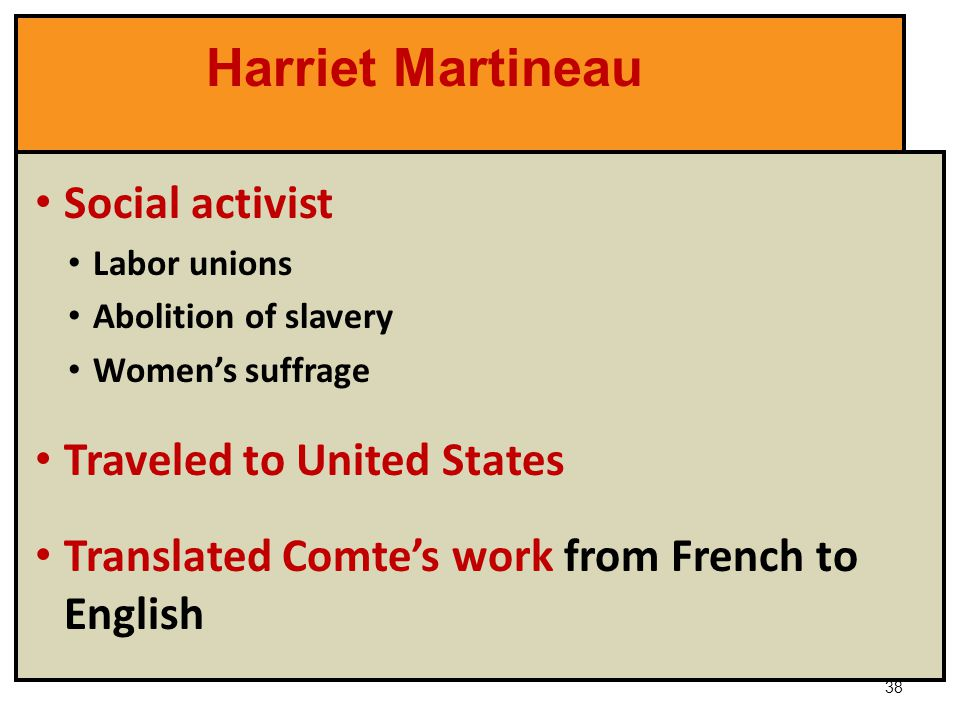 harriet martineau and the conflict theory Harriet martineau is best known for her journalistic contributions on a vast   abridged by joseph priestley under the title of hartley's theory of the human  mind on  we are living in a remarkable time, when the conflict of opinions  renders a.