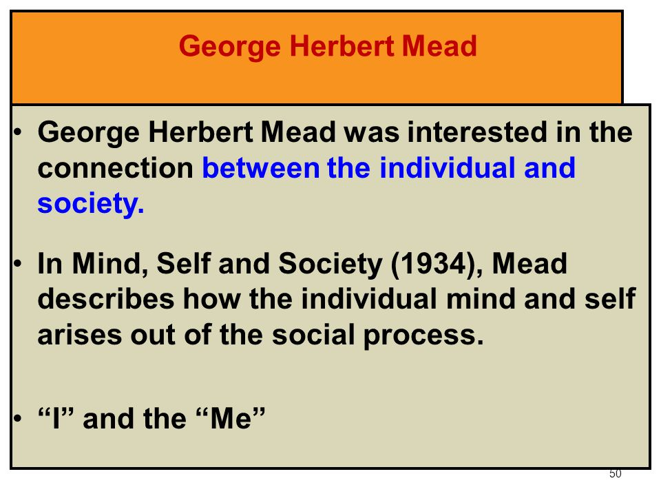 the self by george herbert mead sociology essay Sociology: stages of child development outlined by george herbert mead this process of doing gender begins when the child develops the awareness of self.