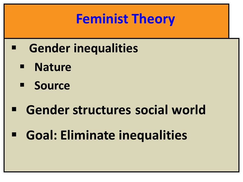 "a feminist approach to sociological theory Feminist and gender theories  sociological theory in the contemporary era t  ""feminist theory,"" ""liberal feminists"" such as betty friedan."