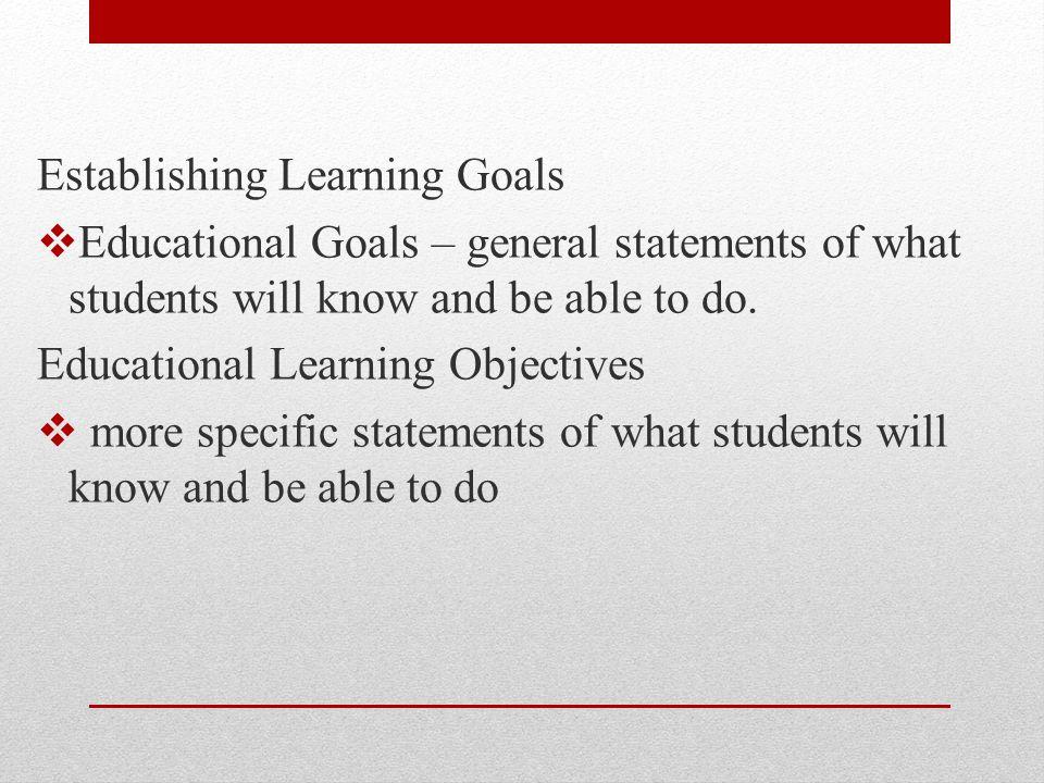 Establishing Learning Goals
