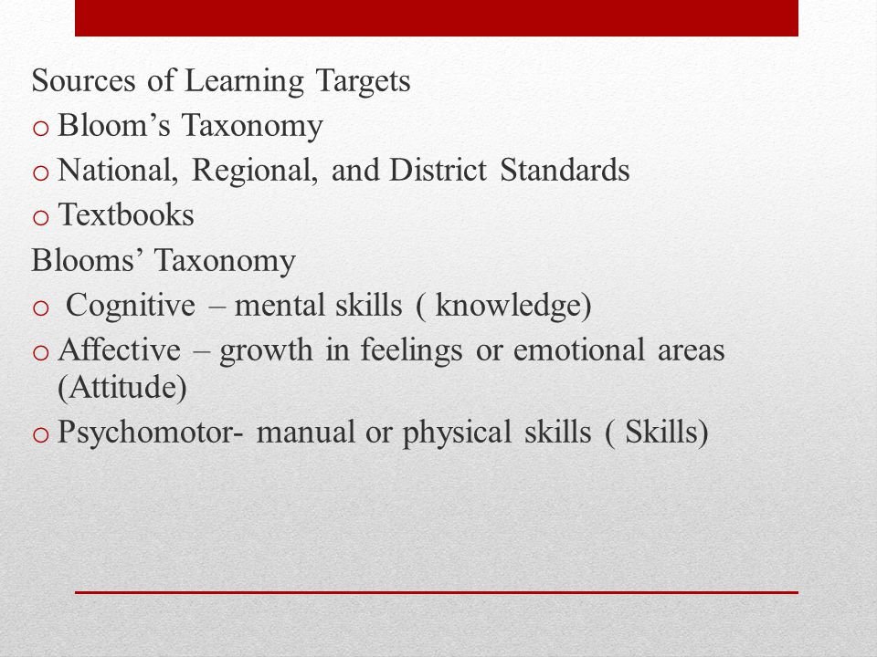 Sources of Learning Targets
