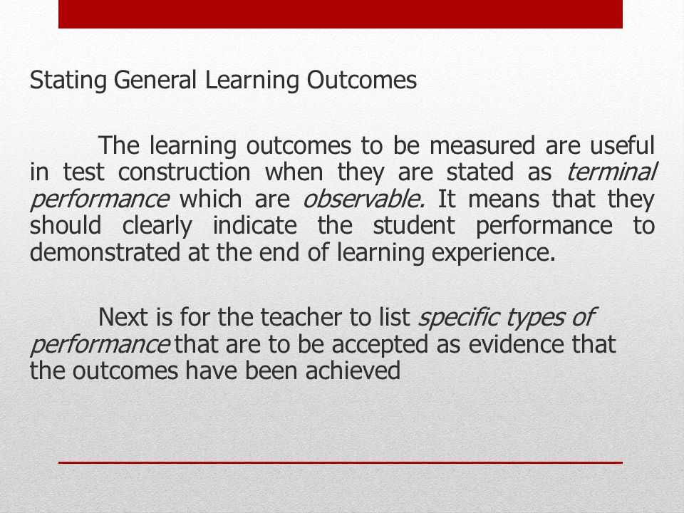 Stating General Learning Outcomes