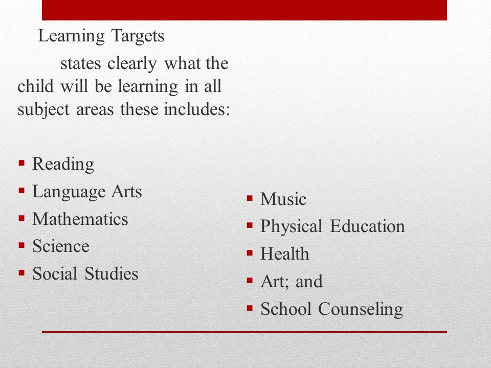 Learning Targets states clearly what the child will be learning in all subject areas these includes: