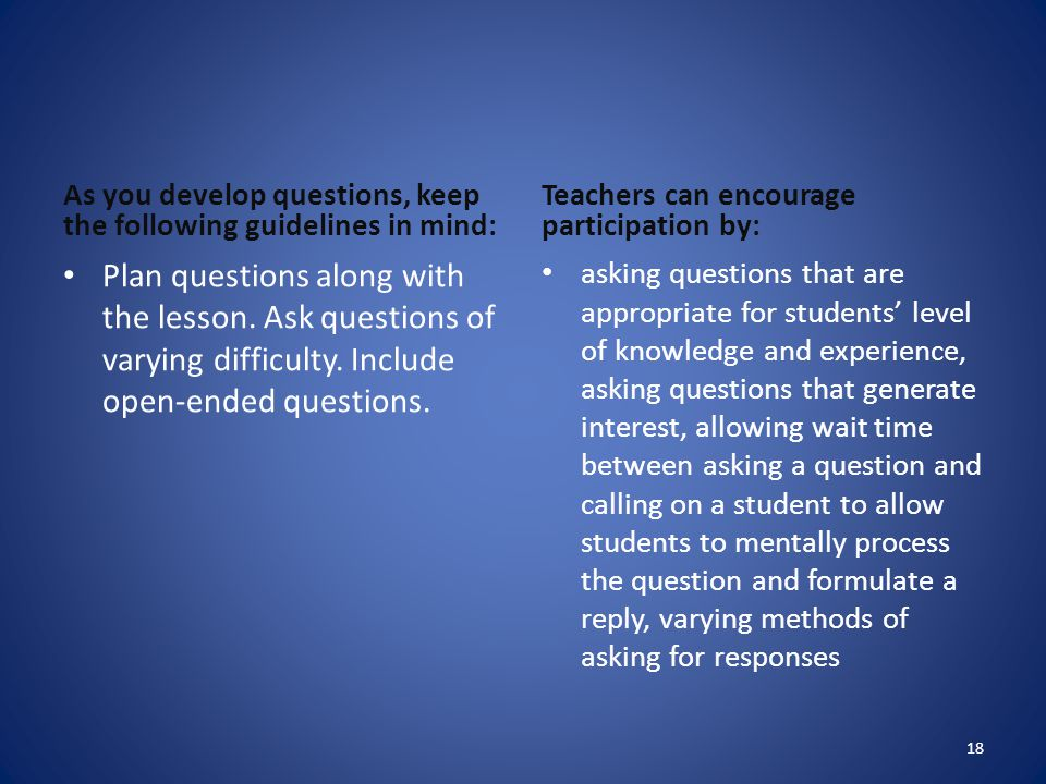 As you develop questions, keep the following guidelines in mind: