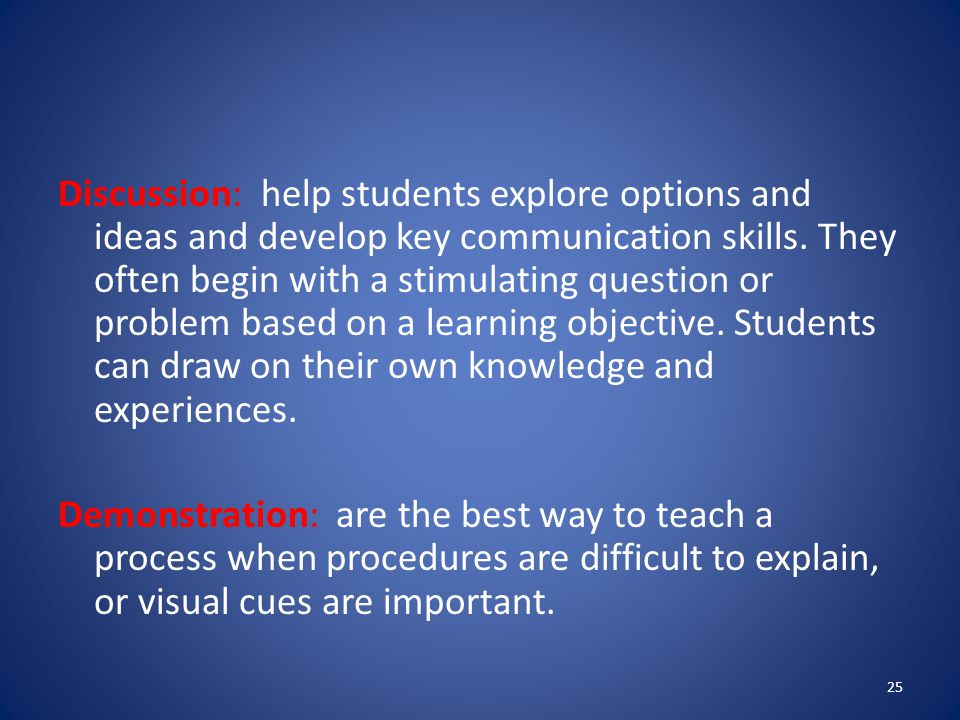 Discussion: help students explore options and ideas and develop key communication skills.