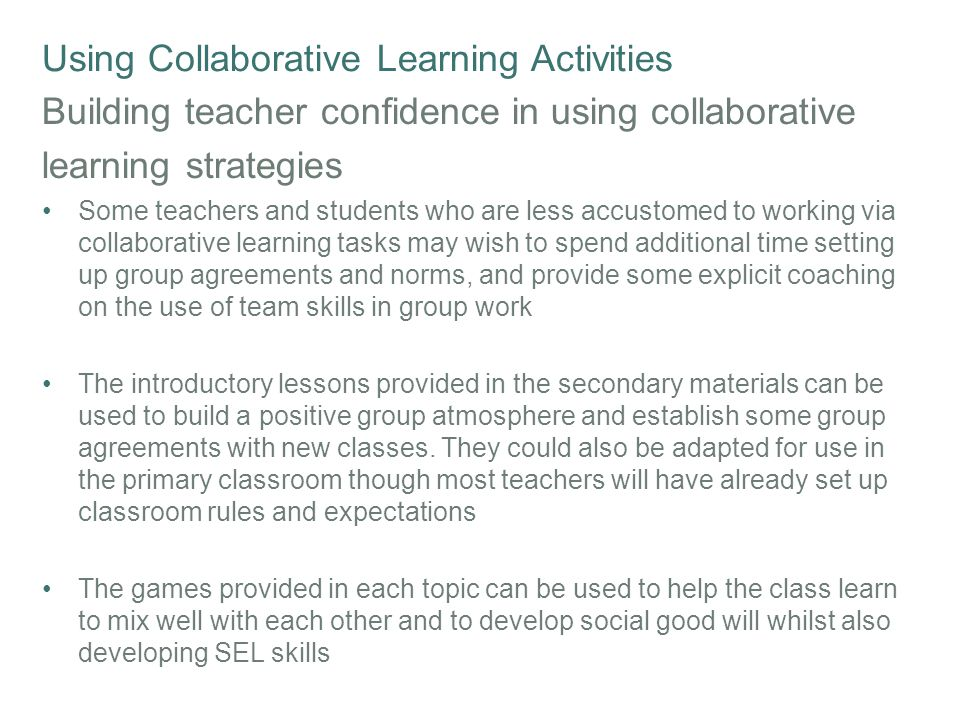 Collaborative Learning Classroom Activities : Building resilience in children and young people ppt