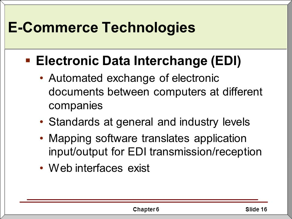 e commerce electronic data interchange and golden Edi is an acronym for electronic data interchange edi allows companies to  exchange data electronically rather than by paper or fax.