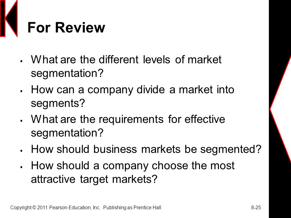 For Review What are the different levels of market segmentation