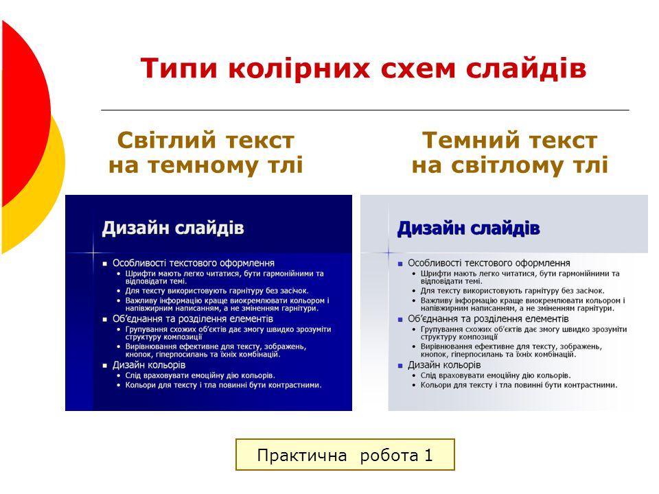Типи колірних схем слайдів
