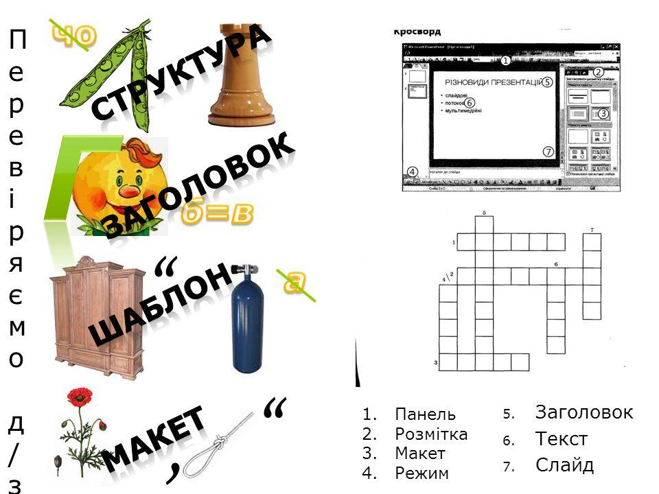 Г , чо б=в а Структура зАГОЛОВОК ШАБЛОН МАКЕТ Перевіряємо д/з