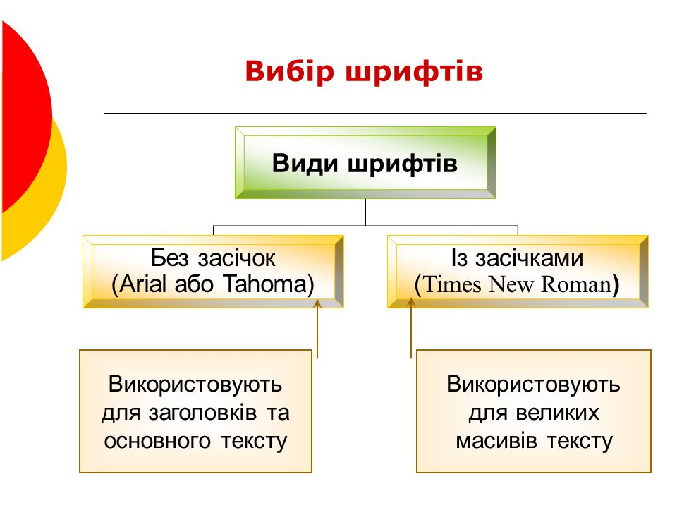 Вибір шрифтів Види шрифтів Без засічок (Arial або Tahoma) Із засічками