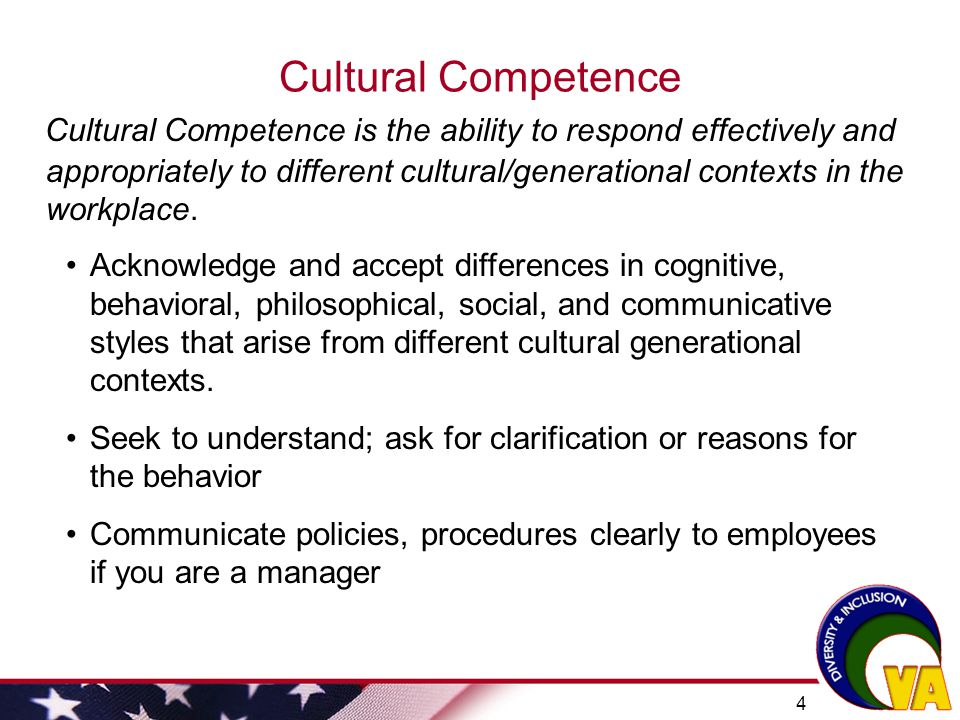 cultural competency in the workplace An organizational culture may not lend itself to cultural competence, so that's where skill building comes in a culturally competent organization brings together knowledge about different.
