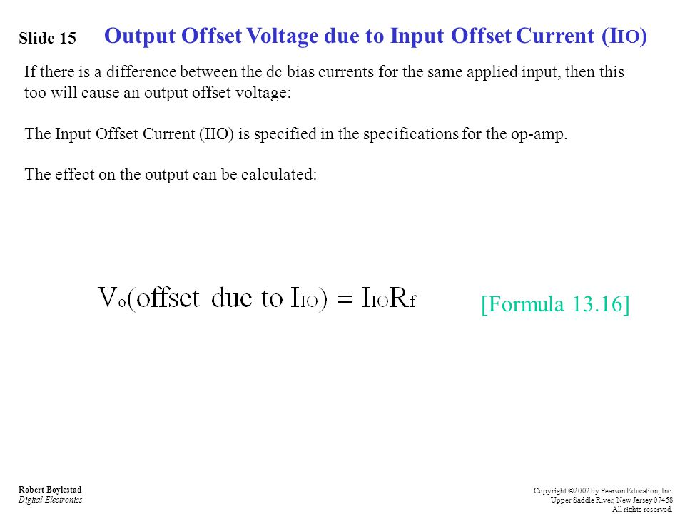 Output Offset Voltage due to Input Offset Current (IIO)