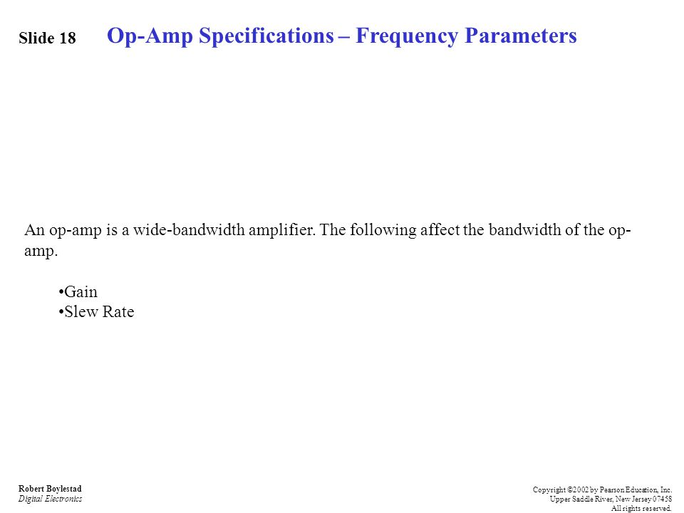 Op-Amp Specifications – Frequency Parameters