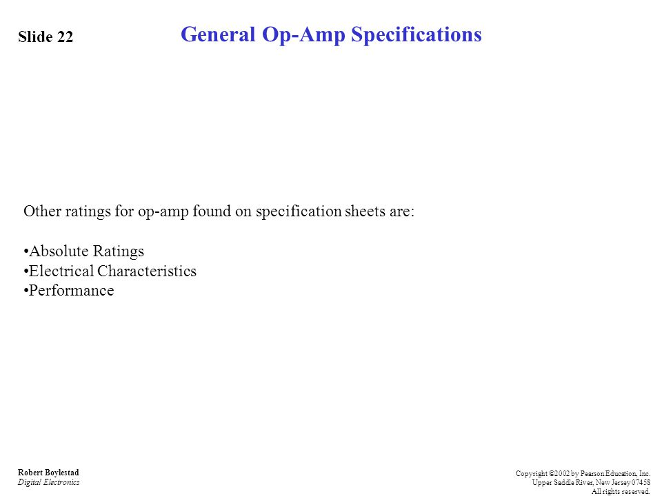 General Op-Amp Specifications