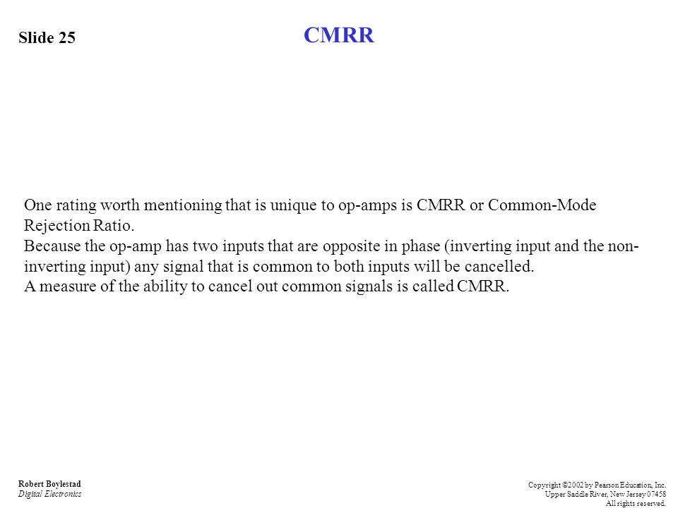 CMRR Slide 25. One rating worth mentioning that is unique to op-amps is CMRR or Common-Mode Rejection Ratio.