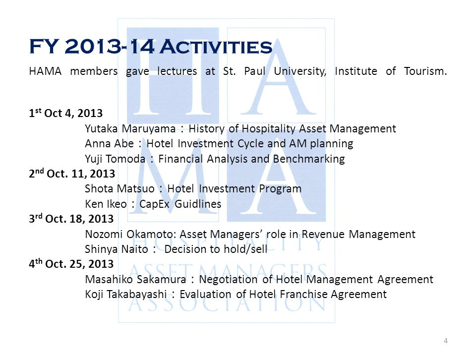Hospitality Asset Managers Association - Ppt Video Online Download
