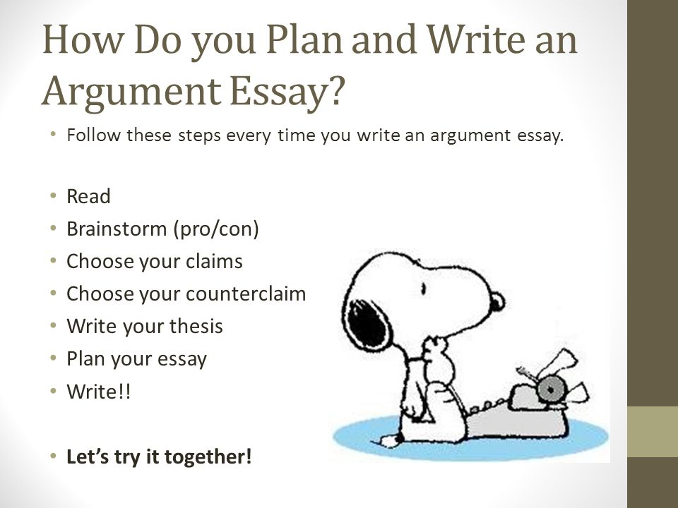 steps to writing and argumentative essay