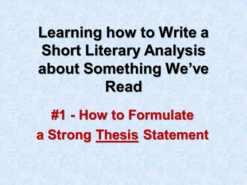 formulating a thesis statement The three-step process it can quite difficult to isolate a testable hypothesis after all of the research and study the best way is to adopt a three-step hypothesis this will help you to narrow things down, and is the most foolproof guide to how to write a hypothesis.