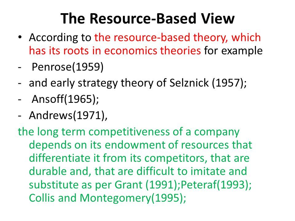 resource based view of strategy Blog resource-based view of strategy in business category:  resource-based view of management is the centre of study for several management experts and journals.