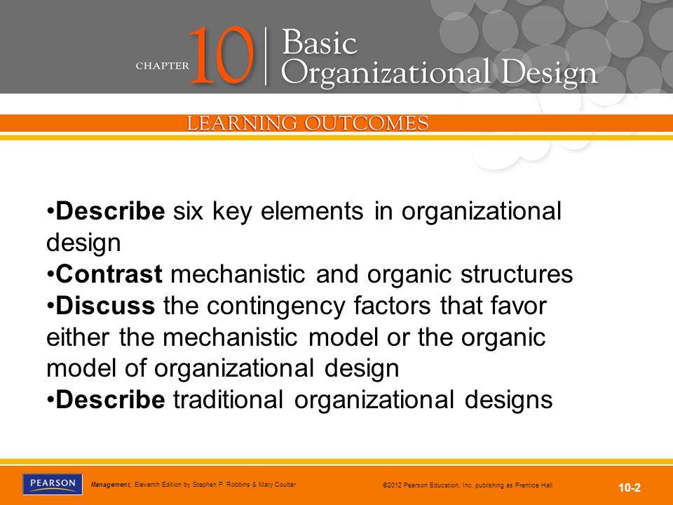 Describe six key elements in organizational design