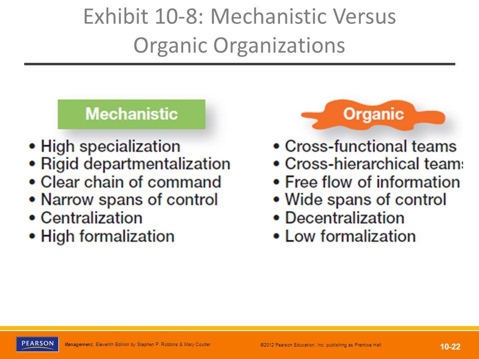 Exhibit 10-8: Mechanistic Versus Organic Organizations
