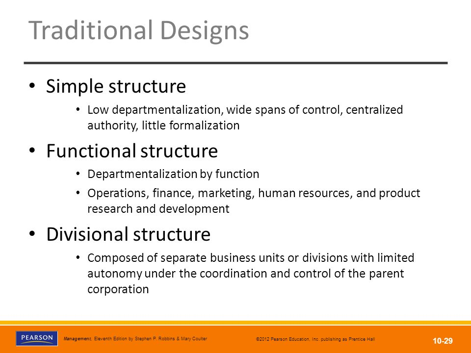 Traditional Designs Simple structure Functional structure