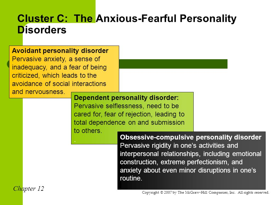 cluster c personality disorder Related to cluster c: cluster c personality disorders, cluster b per on l  y dis r er general term for a group of behavioral disorders characterized by usually lifelong ingrained maladaptive patterns of subjective internal experience and deviant behavior, lifestyle, and social adjustment, which patterns may manifest in impaired.